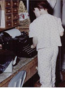 Rose at typewriter hallmark