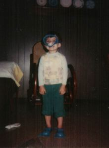 Eric at 4 in mask and fins hallmark