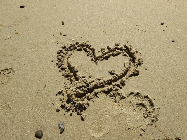 Capistrano beach sand heart