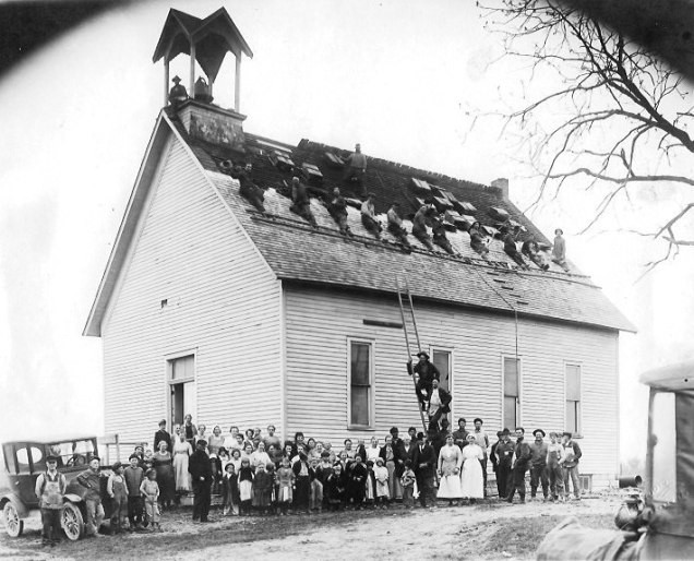 re-roofing Dutchtown Church 1920